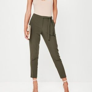 Missguided tie belt high waisted crepe trousers